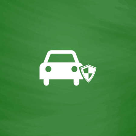 Protect car. Flat Icon. Imitation draw with white chalk on green chalkboard. Flat Pictogram and School board background. Vector illustration symbol Illustration