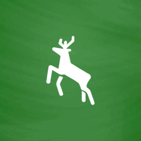 Deer. Flat Icon. Imitation draw with white chalk on green chalkboard. Flat Pictogram and School board background. Vector illustration symbol