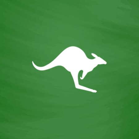 Kangaroo. Flat Icon. Imitation draw with white chalk on green chalkboard. Flat Pictogram and School board background. Vector illustration symbol Illustration