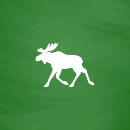 moose symbol: Moose. Flat Icon. Imitation draw with white chalk on green chalkboard. Flat Pictogram and School board background. Vector illustration symbol Illustration