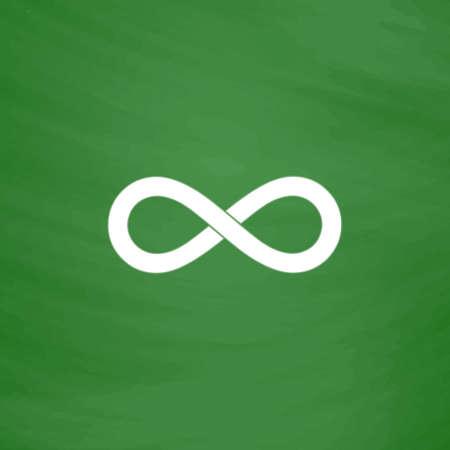 Infinity. Flat Icon. Imitation draw with white chalk on green chalkboard. Flat Pictogram and School board background. Vector illustration symbol Illusztráció