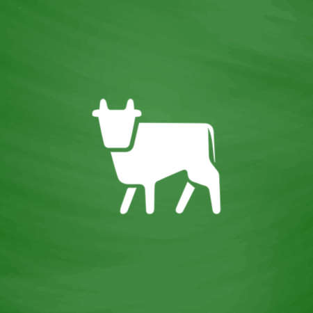 Cow. Flat Icon. Imitation draw with white chalk on green chalkboard. Flat Pictogram and School board background. Vector illustration symbol