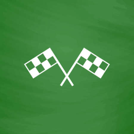 two crossed checkered flags: Racing flag. Flat Icon. Imitation draw with white chalk on green chalkboard. Flat Pictogram and School board background. Vector illustration symbol Illustration