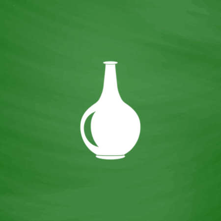 Amphora. Flat Icon. Imitation draw with white chalk on green chalkboard. Flat Pictogram and School board background. Vector illustration symbol Illustration