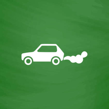 toxic emissions: Car emits carbon dioxide. Flat Icon. Imitation draw with white chalk on green chalkboard. Flat Pictogram and School board background. Vector illustration symbol Illustration
