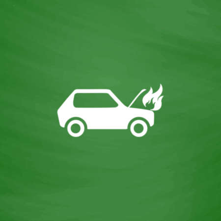 Car fired. Flat Icon. Imitation draw with white chalk on green chalkboard. Flat Pictogram and School board background. Vector illustration symbol Illustration