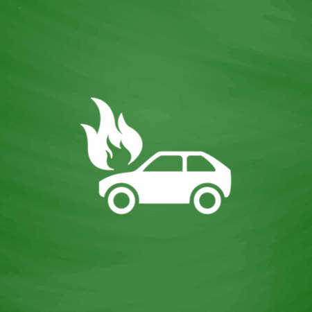 Car fire. Flat Icon. Imitation draw with white chalk on green chalkboard. Flat Pictogram and School board background. Vector illustration symbol Illustration