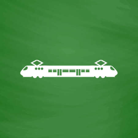 electric train: Suburban electric train. Flat Icon. Imitation draw with white chalk on green chalkboard. Flat Pictogram and School board background. Vector illustration symbol