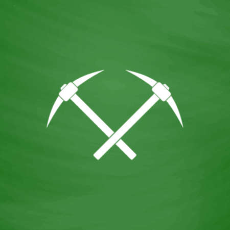 pick ax: Crossed powered icebreaker. Flat Icon. Imitation draw with white chalk on green chalkboard. Flat Pictogram and School board background. Vector illustration symbol Illustration