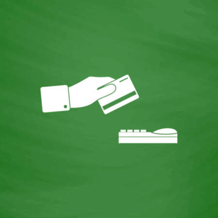 checking accounts: Hand swiping a credit card. Flat Icon. Imitation draw with white chalk on green chalkboard. Flat Pictogram and School board background. Vector illustration symbol Illustration