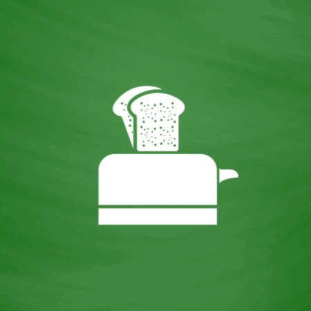 bread maker: Toaster. Flat Icon. Imitation draw with white chalk on green chalkboard. Flat Pictogram and School board background. Vector illustration symbol