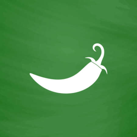 organic peppers sign: Chilli pepper. Flat Icon. Imitation draw with white chalk on green chalkboard. Flat Pictogram and School board background. Vector illustration symbol