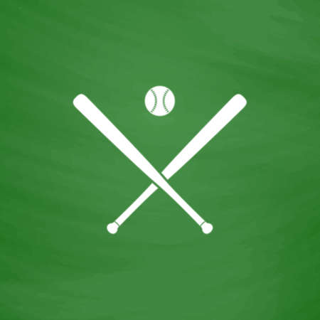 outfield: Crossed baseball bats and ball. Flat Icon. Imitation draw with white chalk on green chalkboard. Flat Pictogram and School board background. Vector illustration symbol Illustration
