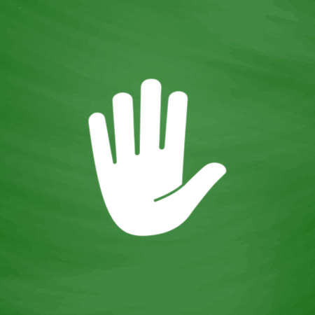Stop - hand. Flat Icon. Imitation draw with white chalk on green chalkboard. Flat Pictogram and School board background. Vector illustration symbol