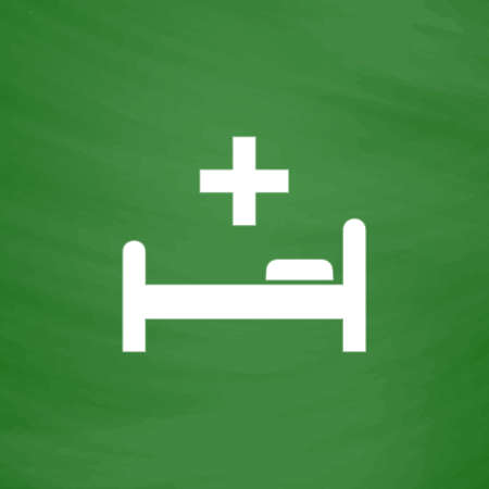 surgery stretcher: Hospital bed and cross. Flat Icon. Imitation draw with white chalk on green chalkboard. Flat Pictogram and School board background. Vector illustration symbol