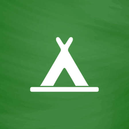 abode: Wigwam. Flat Icon. Imitation draw with white chalk on green chalkboard. Flat Pictogram and School board background. Vector illustration symbol Illustration