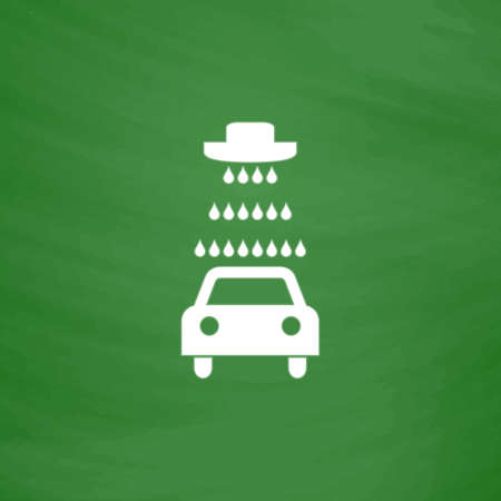 Car wash. Flat Icon. Imitation draw with white chalk on green chalkboard. Flat Pictogram and School board background. Vector illustration symbol Illustration