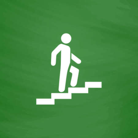 ascent: Man on Stairs going up. Flat Icon. Imitation draw with white chalk on green chalkboard. Flat Pictogram and School board background. Vector illustration symbol Illustration
