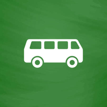 mini job: Minibus. Flat Icon. Imitation draw with white chalk on green chalkboard. Flat Pictogram and School board background. Vector illustration symbol Illustration