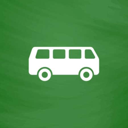 family van: Minibus. Flat Icon. Imitation draw with white chalk on green chalkboard. Flat Pictogram and School board background. Vector illustration symbol Illustration