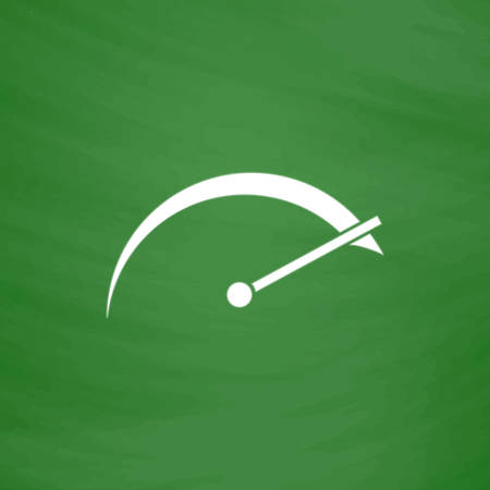 con: Tachometer. Flat Icon. Imitation draw with white chalk on green chalkboard. Flat Pictogram and School board background. Vector illustration symbol Illustration