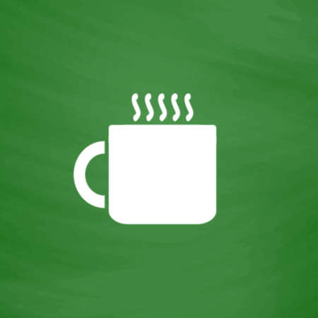 Hot tea cup. Flat Icon. Imitation draw with white chalk on green chalkboard. Flat Pictogram and School board background. Vector illustration symbol