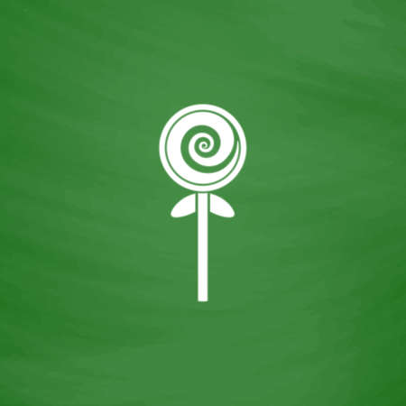 Spiral candy. Flat Icon. Imitation draw with white chalk on green chalkboard. Flat Pictogram and School board background. Vector illustration symbol