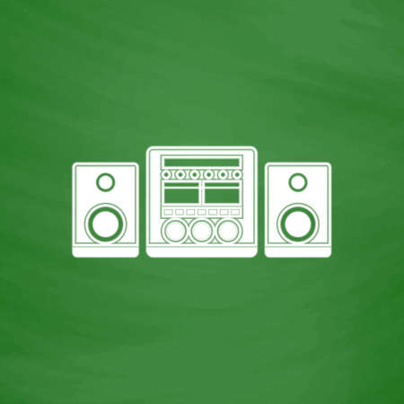 am radio: Stereo system. Flat Icon. Imitation draw with white chalk on green chalkboard. Flat Pictogram and School board background. Vector illustration symbol
