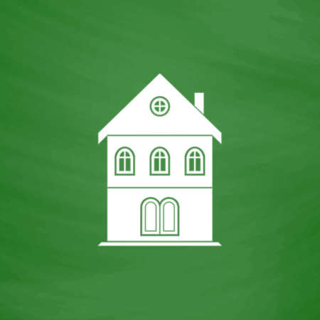 realstate: Simple old house. Flat Icon. Imitation draw with white chalk on green chalkboard. Flat Pictogram and School board background. Vector illustration symbol