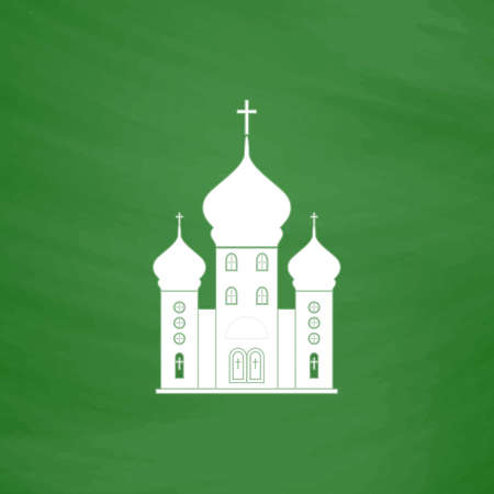 pews: Church. Flat Icon. Imitation draw with white chalk on green chalkboard. Flat Pictogram and School board background. Vector illustration symbol