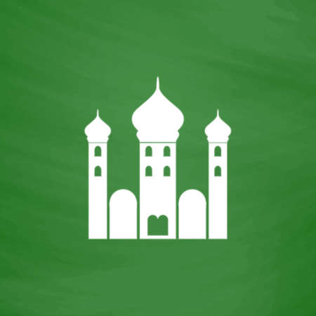 eastern spirituality: Mosque. Flat Icon. Imitation draw with white chalk on green chalkboard. Flat Pictogram and School board background. Vector illustration symbol
