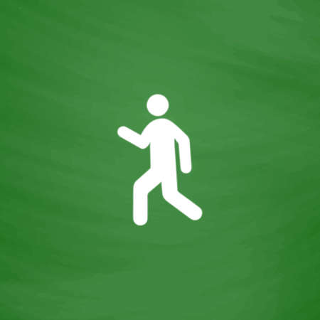 Man walk. Flat Icon. Imitation draw with white chalk on green chalkboard. Flat Pictogram and School board background. Vector illustration symbol