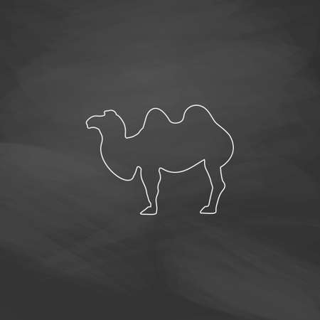 stables: camel Simple line vector button. Imitation draw with white chalk on blackboard. Flat Pictogram and School board background. Outine illustration icon