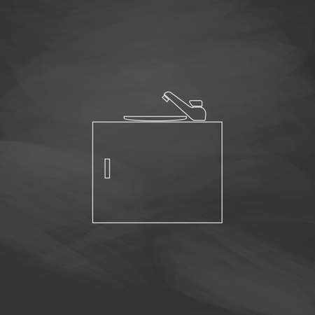 washstand: sink Simple line vector button. Imitation draw with white chalk on blackboard. Flat Pictogram and School board background. Outine illustration icon
