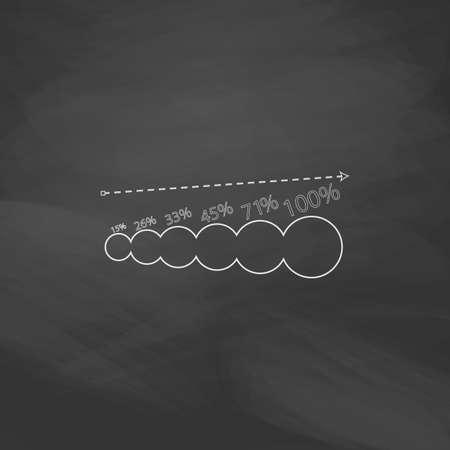 groeiende grafiek Eenvoudige lijn vector knop. Imitatie tekenen met wit krijt op blackboard. Platte pictogram en schoolbestuur achtergrond. Outine illustratie pictogram Vector Illustratie