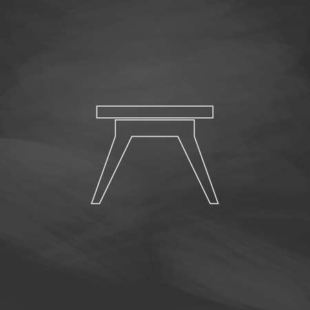soiree: Camping table Simple line vector button. Imitation draw with white chalk on blackboard. Flat Pictogram and School board background. Outine illustration icon