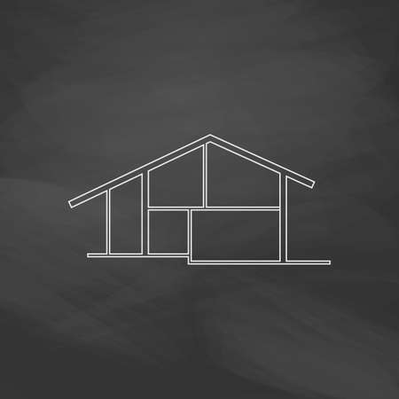 company premises: cottage Simple line vector button. Imitation draw with white chalk on blackboard. Flat Pictogram and School board background. Outine illustration icon