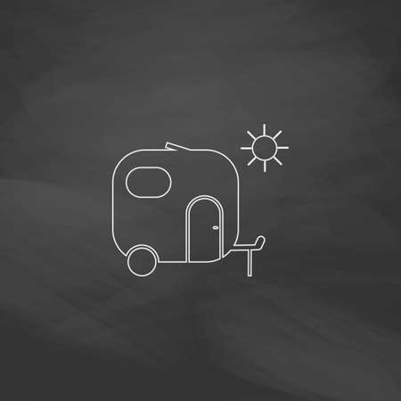 trailer Simple line vector button. Imitation draw with white chalk on blackboard. Flat Pictogram and School board background. Outine illustration icon Illustration