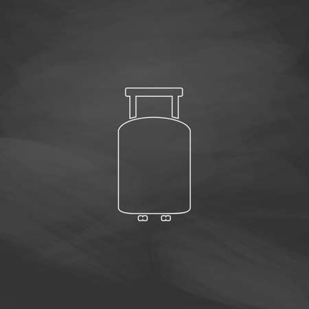 overseas: Suitcase Simple line vector button. Imitation draw with white chalk on blackboard. Flat Pictogram and School board background. Outine illustration icon