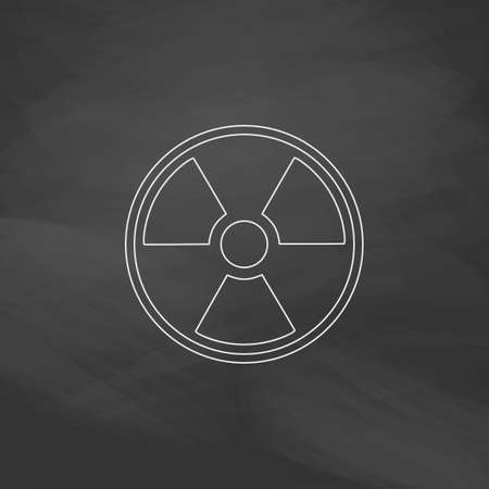 plutonium: Radiation Simple line vector button. Imitation draw with white chalk on blackboard. Flat Pictogram and School board background. Outine illustration icon