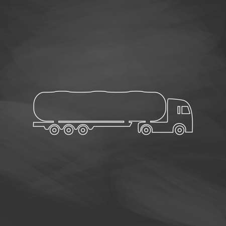 fuel truck: Fuel Truck Simple line vector button. Imitation draw with white chalk on blackboard. Flat Pictogram and School board background. Outine illustration icon Illustration