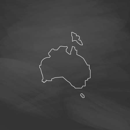 queensland: Australia Simple line vector button. Imitation draw with white chalk on blackboard. Flat Pictogram and School board background. Outine illustration icon
