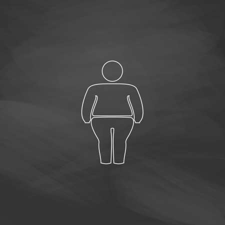 frail: fatty Simple line vector button. Imitation draw with white chalk on blackboard. Flat Pictogram and School board background. Outine illustration icon Illustration