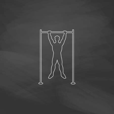 telamon: athlete Simple line vector button. Imitation draw with white chalk on blackboard. Flat Pictogram and School board background. Outine illustration icon