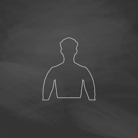 unnamed: Unknown male Simple line vector button. Imitation draw with white chalk on blackboard. Flat Pictogram and School board background. Outine illustration icon