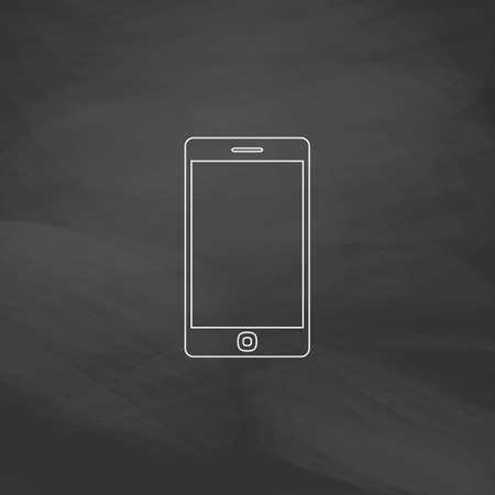 touch phone: touch phone Simple line vector button. Imitation draw with white chalk on blackboard. Flat Pictogram and School board background. Outine illustration icon