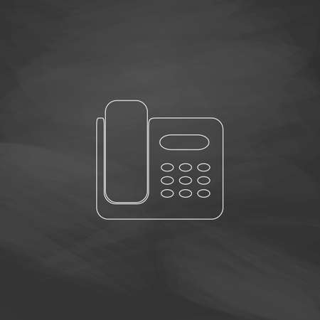 parley: Office Phone Simple line vector button. Imitation draw with white chalk on blackboard. Flat Pictogram and School board background. Outine illustration icon