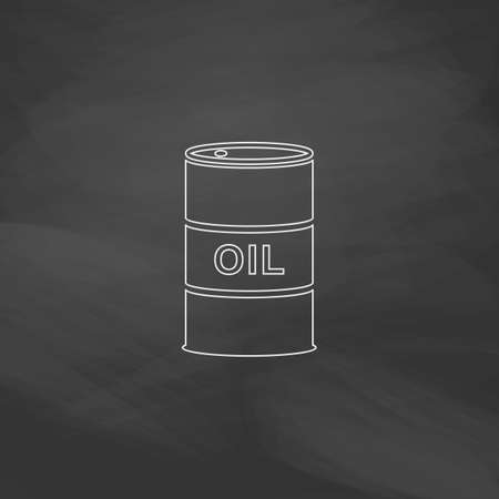shareholding: Oil barrels Simple line vector button. Imitation draw with white chalk on blackboard. Flat Pictogram and School board background. Outine illustration icon Illustration