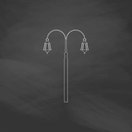 lighting column: Street Light Simple line vector button. Imitation draw with white chalk on blackboard. Flat Pictogram and School board background. Outine illustration icon
