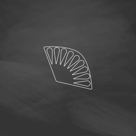 red fan: Folding fan Simple line vector button. Imitation draw with white chalk on blackboard. Flat Pictogram and School board background. Outine illustration icon Illustration